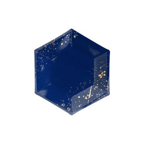 6 Platos de papel con confeti y estrellas azul marino y dorado