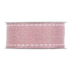 Cinta de regalo rosa con pespunte blanco. 38mmx15 m
