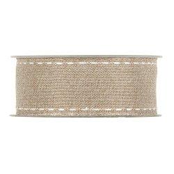 Cinta de regalo algodón natural con pespunte blanco. 38mmx15 m