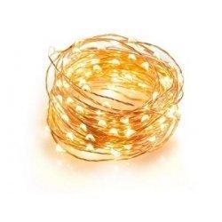 Guirnalda con 100 mini luces led. Cable dorado y luz cálida. 10 metros