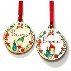 Bola Elfo de madera para Navidad, personalizada.