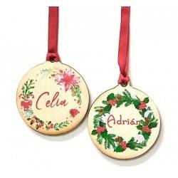 Bola Corona de madera para Navidad, personalizada.