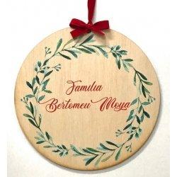 Bola grande de madera para Navidad, personalizada.