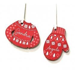 Sueter ó Manopla de madera para Navidad, personalizada.