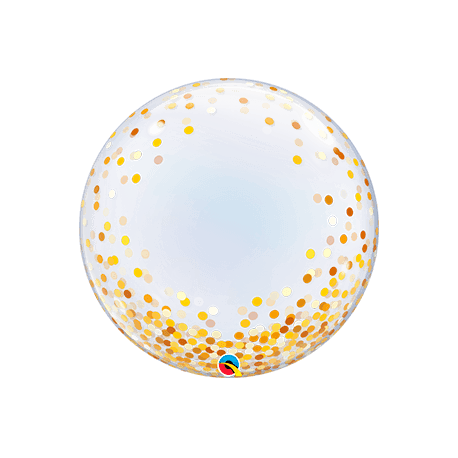 Globo burbuja, confeti dorado. 60 cms.