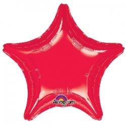 Globo estrella roja metalizada. 48 cms