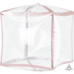 Globo Cubez transparente con filo oro rosa