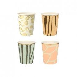 8 Vasos de papel Animal print-Fiesta Safari, surtidos en 4 modelos