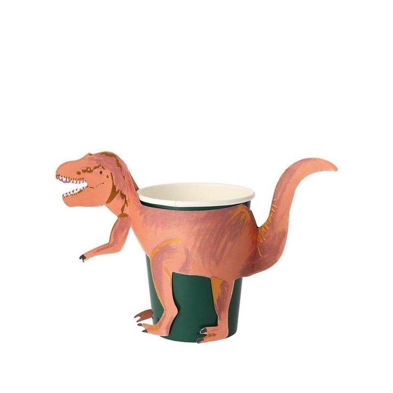 8 Vasos Dinosaurio T-Rex