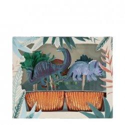 24 càpsulas para cup cakes con 24 Topper Dinosaurio party