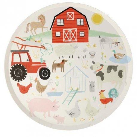 8 Platos de papel Fiesta en la granja