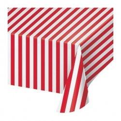 Mantel de plastico con rayas blancas y rojas 1.37x2.59 m