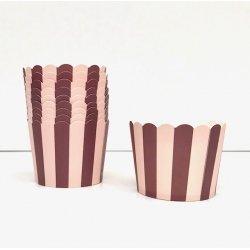 50 Tarrinas-cápsulas de papel para chuches ó helado. Rayas rosa y granate