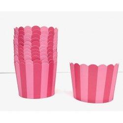 50 Tarrinas-cápsulas de papel para chuches ó helado. Rayas rosa