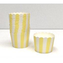 50 Tarrinas-cápsulas de papel para chuches ó helado. Rayas amarillas