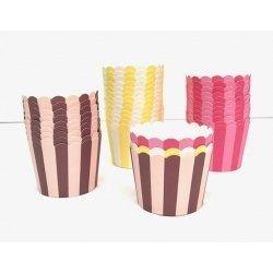 300 Tarrinas-cápsulas de papel para chuches ó helado. Rayas surtidas