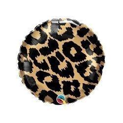 Globo redondo metalizado, animal print - leopardo. 45.7 cms