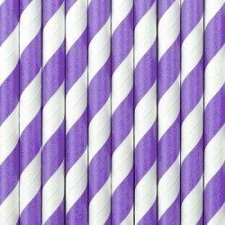 10 Pajitas de papel rayas moradas