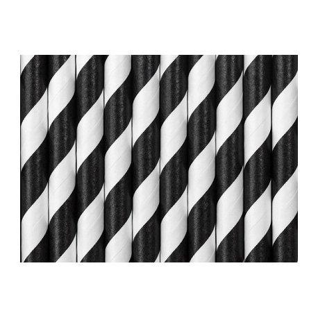 25 Pajitas de papel rayas Negras