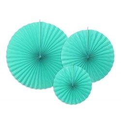 3 Abanicos de papel mint - turquesa