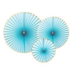 3 Abanicos de papel Azul claro con ribete dorado