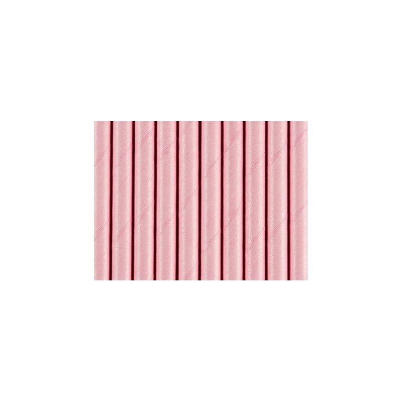 10 Pajitas de papel rosa claro