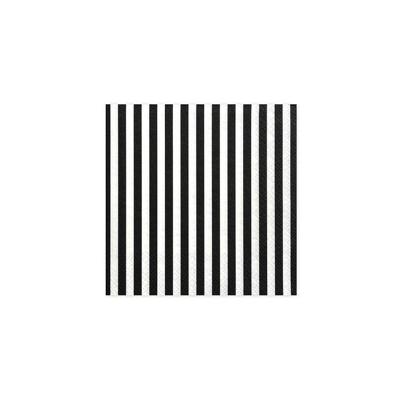 20 Servilletas de papel, rayas negras y blancas,