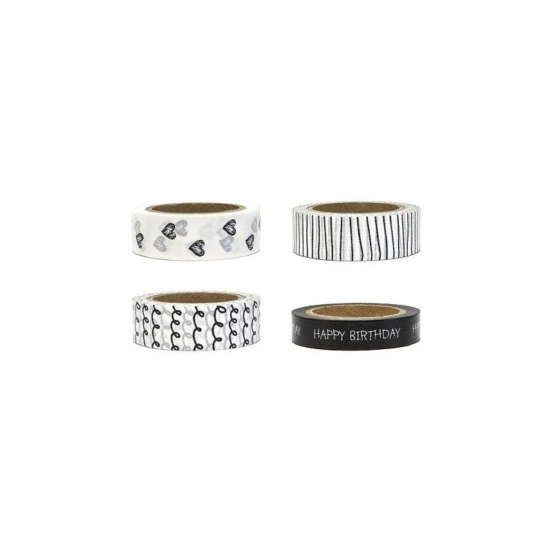 4 Rollos de Washi tape blanco y negro