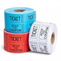 500 Tickets para Fiestas. Disponibles en 3 colores