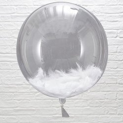 Globo burbuja transparente con plumas blancas. Aprox 46 cms.