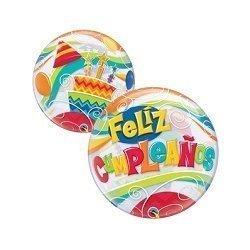 Globo burbuja transparente. Feliz cumpleaños