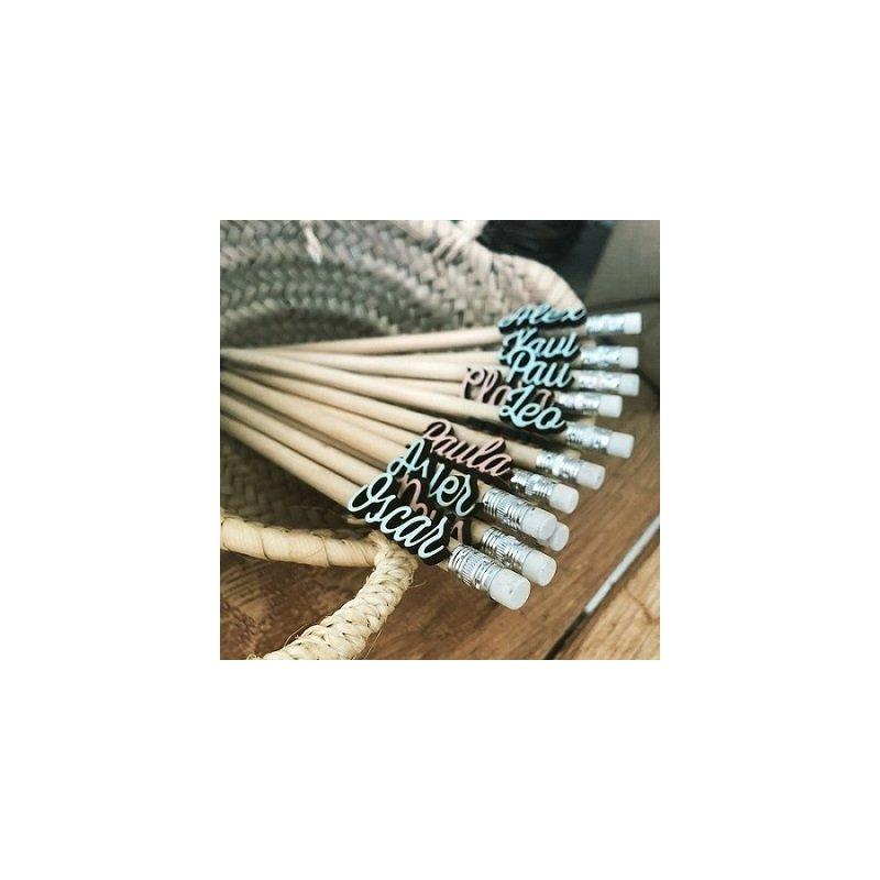 25 Lápices personalizados, de madera natural