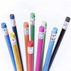 25 Lápices de madera con goma a tono - Varios colores