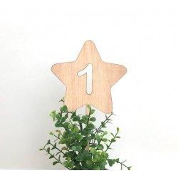 Topper Estrella Uno, de madera natural