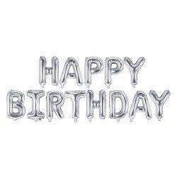 Globos Happy Birthday, plata