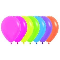 10 Globos Flúor-Neón, 30 cms. Color surtido