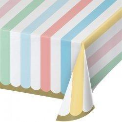 Mantel de papel rayas pastel 1.37x2.59 m