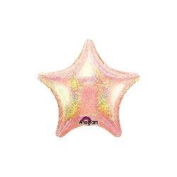 Globo metalizado, iridiscente, estrella rosa. 48 cms
