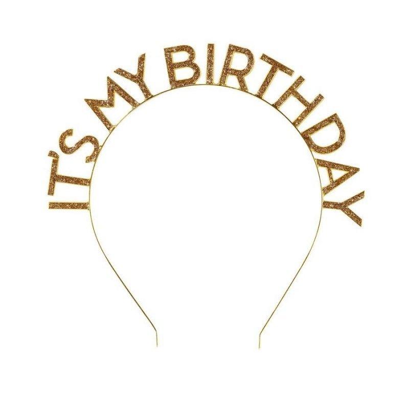 Diadema metálica dorada para cumpleaños