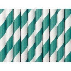 10 Pajitas de papel, rayas turquesa