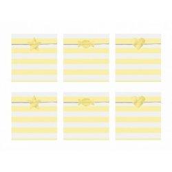 6 Sobres/bolsas de papel rayas Yummy amarillo pastel, con pegatinas