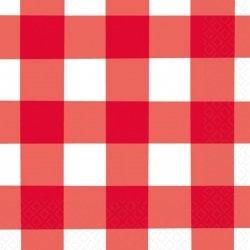16 Servilletas de papel, cuadritos vichy rojos