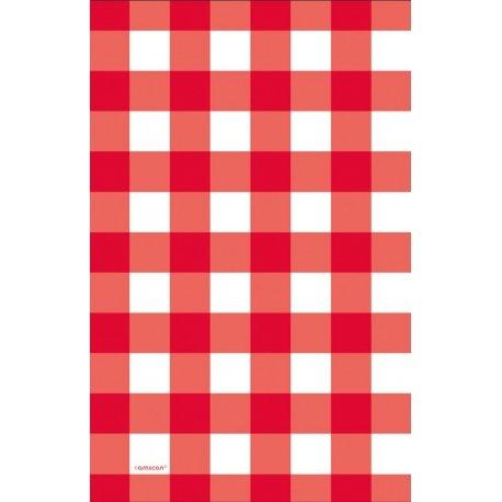 Mantel de plástico, cuadritos vichy rojos. 1.37x2.6 m