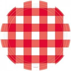 8 Platos de papel, cuadritos vichy rojos