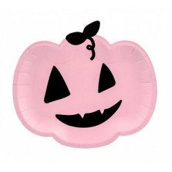 6 Platos calabaza rosa - Halloween