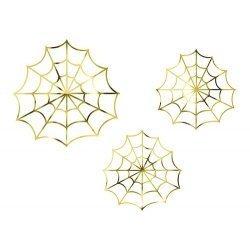 3 Telarañas de papel dorado