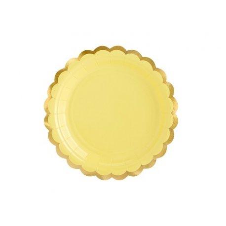 6 Platos de papel amarillo pastel con festón dorado. 18 cms