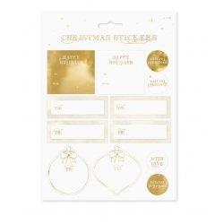 24 Adhesivos-pegatinas navideñas doradas