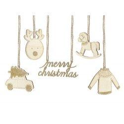 10 Figuras colgantes navideñas de madera con toques dorados