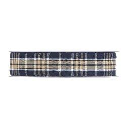 20 m de Cinta de regalo escocesa, azul y crema. Ancho 12 mm
